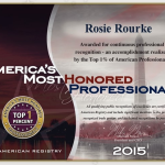 Rosie Rourke Named America's Most Honored Professional